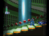 Mega Man X4 PlayStation Megaman X climbs the stairs of the Bio Laboratory