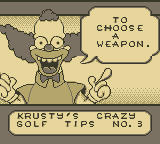 Itchy & Scratchy in Miniature Golf Madness Game Boy Krusty's Crazy Golf Tips