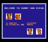 "Kings of the Beach NES Lester (from <moby game=""Skate or Die"">Skate or Die</moby>) and <moby game=""Hard Hat Mack"">Hard Hat Mack</moby> team up against Smith and Stoklos."