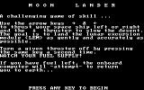 Space Battles DOS Moon Lander - title screen and instructions