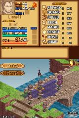 "Luminous Arc Nintendo DS A look at how the information is laid out over the two screens. Unit Info on the top, unit positions on the bottom  Here the player faces the fearsome ""Linnell""."