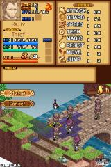 "Luminous Arc Nintendo DS A look at how the information is laid out over the two screens. Unit Info on the top, unit positions on the bottom  Here the player faces the fearsome ""Rajiv""."