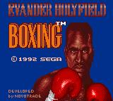 "Evander Holyfield's ""Real Deal"" Boxing Game Gear Title screen"