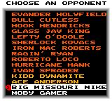 "Evander Holyfield's ""Real Deal"" Boxing Game Gear Choosing an opponent in tournament mode."