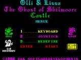 Olli & Lissa: The Ghost of Shilmore Castle ZX Spectrum Main menu