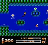 The Addams Family NES Using the goggles to breathe underwater.