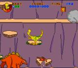 Virtual Bart SNES Leaping from platform to platform to climb the volcano