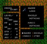 Willow NES Status / Inventory screen
