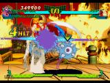 Marvel Super Heroes vs. Street Fighter PlayStation Spider-Man (assisted by Shuma-Gorath's Mystic Smash) executing his move Spider Sting in Ken Masters.