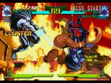Marvel Super Heroes vs. Street Fighter PlayStation While P1 Blackheart does a lightning move, Zangief attacks P2 Blackheart using his Flying Powerbomb.