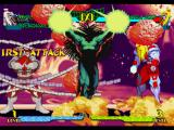 Marvel Super Heroes vs. Street Fighter PlayStation P1 Omega Red and Blackheart's Crossover Combination Attack hit-damaging P2 Omega Red accurately...