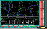 F-16 Combat Pilot DOS Setting waypoints on the the tactical map. It displays allied as well as enemy installations, from SAM sites to factories.