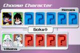 Dragon Ball Z Collectible Card Game Game Boy Advance Choosing a character.