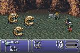 Final Fantasy III Game Boy Advance Edgar attacking multiple enemies.