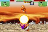 Dragon Ball Z: Supersonic Warriors Game Boy Advance Krillin hitting Buu with a special move.