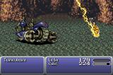 Final Fantasy III Game Boy Advance Celes using her Runic ability to absorb Tunnel Armor's spells.