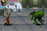 Marvel Ultimate Alliance Game Boy Advance Wolverine holding a barrel to throw to Fin Fang Foom
