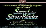 Secret of the Silver Blades Commodore 64 Title screen