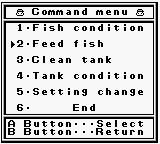 Legend of the River King GB Game Boy Command menu