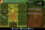 Mazes of Fate Game Boy Advance The equipment screen