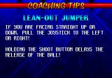 NBA Hang Time Genesis coaching tips appear after the 1st and 3rd quarter