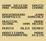 David Crane's The Rescue of Princess Blobette Starring A Boy and his Blob Game Boy Credits