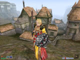 The Elder Scrolls III: Morrowind Windows An experienced Morrowind heroine with magical cloak and enchanted sword in front of the mining town Caldera