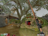 The Elder Scrolls III: Morrowind Windows Fighting a fierce Ogrim. In an Ashlander camp. By rain