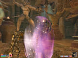 The Elder Scrolls III: Morrowind Windows Combat in a Deadric shrine. Note the huge statue in the background. The purple sphere is a magical shield