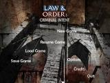 Law & Order: Criminal Intent Windows Main Menu
