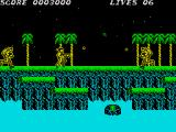 Contra ZX Spectrum The weapon power up makes the bullets come out in zig zag pattern