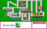 "Stickybear Town Builder DOS In ""take a drive"" mode, the player navigates the car to a map location."