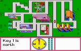 "Stickybear Town Builder DOS In ""find the keys"" mode, the player must navigate based on cardinal directions to a site not indicated on the map."