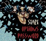 X-Men: Wolverine's Rage Game Boy Color Menu