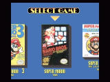 Super Mario All-Stars SNES The nice game selection screen, complete with the original boxes. Here we have Super Mario Bros...