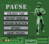 Army Men II Game Boy Color In-game menu
