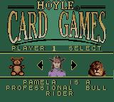 Hoyle Card Games Game Boy Color Selecting a character