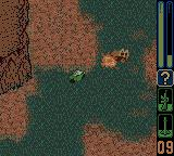Army Men: Sarge's Heroes 2 Game Boy Color Vikki on a bike shooting an enemy jeep