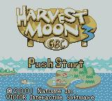 Harvest Moon 3 GBC Game Boy Color Title screen