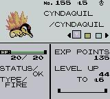 Pokémon Crystal Version Game Boy Color Stats screen of your newly acquired Pokémon