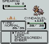 Pokémon Crystal Version Game Boy Color Selecting an attack
