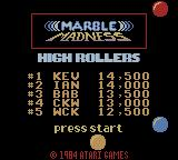 Marble Madness Game Boy Color Title screen