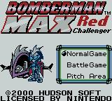 Bomberman Max: Red Challenger Game Boy Color Title screen