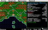 Roadwar Europa Atari ST Mani game screen, game map to the left and status to the right