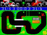 Grand Prix Simulator ZX Spectrum The oil spill will make you spin out of control if you turn too fast in it