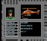 Cobra Command NES Press the Select button to choose items and see data of the mission.