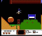 The Jetsons: Cogswell's Caper NES A giant apple-shaped boulder tumbles down the hill afterward-- hit the gravity reversal switch (which affects you, not the boulder).