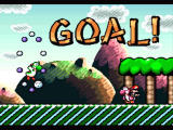 Super Mario World 2: Yoshi's Island SNES Level is completed, the next Yoshi takes Mario