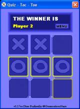 Quiz - Tac - Toe Windows Player 2 has won the game
