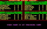 "Superstar Ice Hockey DOS ""Training Camp"" amounts to a one-line display (EGA)."